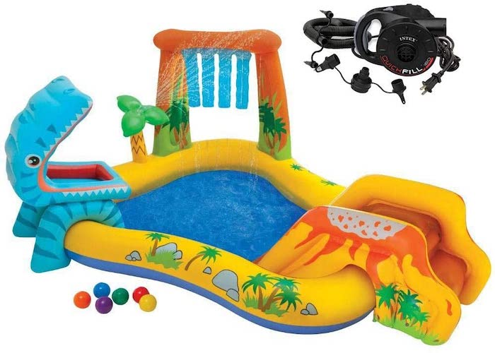 10. Intex 7.9ft x 6.25ft x 43in Dinosaur Play Center Inflatable Pool & Electric Pump