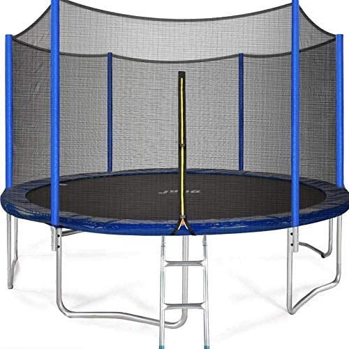 5.JUPA Kids Trampoline 15FT, Safe Certificated Outdoor Trampoline with Enclosure Net Jumping Mat Safety Pad, Heavy Duty Round Trampoline