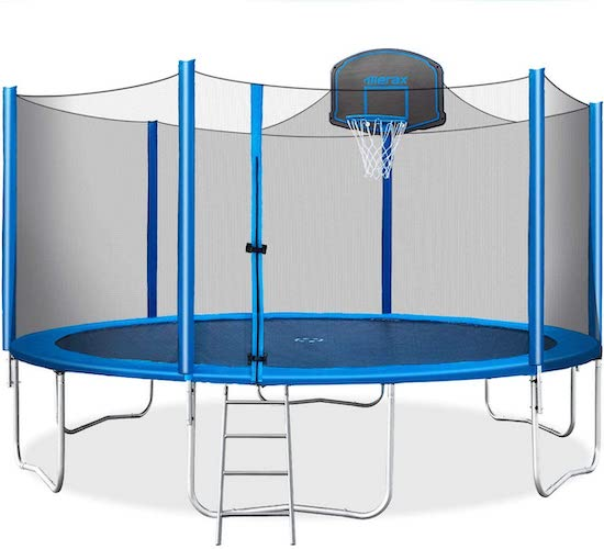 2.Merax 15 FT Trampoline with Safety Enclosure Net, Basketball Hoop and Ladder - 2020 Upgraded – Kids Basketball Trampoline