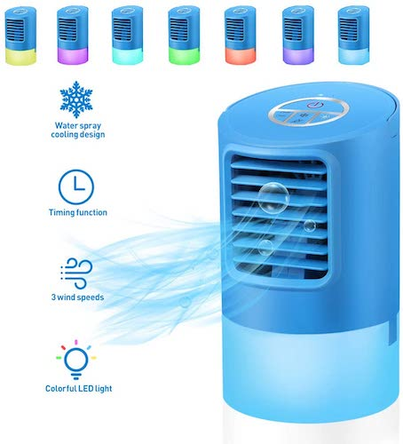 8.Personal Air Cooler, VOSAREA Portable Air Conditioners Fan Mini Space Evaporative Air Cooler with 3 Wind Speeds