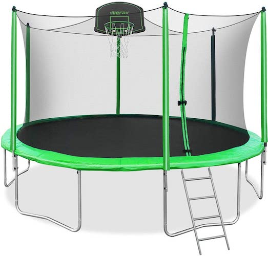 4.Merax 14FT 15FT Trampoline with Enclosure Kids Trampoline with Basketball Hoop, Ladder and Backboard Net