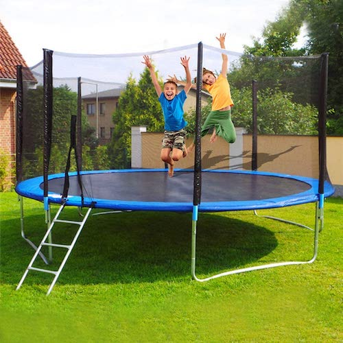 9.Indoor or Outdoor Trampoline for Kids Spring, 12 FT Trampoline with Enclosure Net and Poles Safety Pad
