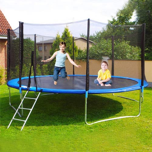 6.jujunshangmao 12FT TUV Approved Kids Trampoline with Enclosure net (Blue 12 FT)