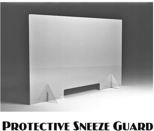 3. Protective Sneeze Guard, Clear Acrylic Plexiglass Shield For Counters, Food Screen, Transaction Window for Employers, (80 x 50 cm)