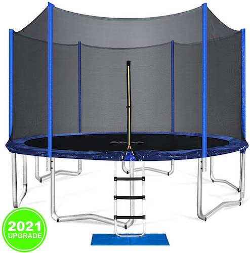 10.ORCC Trampoline 15 14 12 FT Outdoor Trampoline with Enclosure Net Ladder Pad Jumping Mat T-Hook Rain Cover