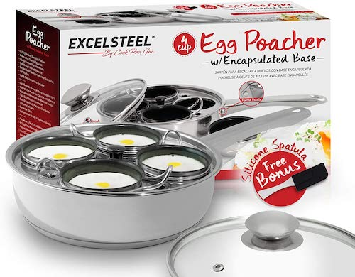 1.ExcelSteel 521 Non Stick Easy Use Rust Resistant Home Kitchen Breakfast Brunch Induction Cooktop Egg Poacher, 4 Cups
