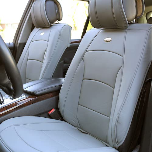 5. FH Group PU205SOLIDGRAY102 Solid Gray Ultra-Comfort Leatherette Front Seat Cushion
