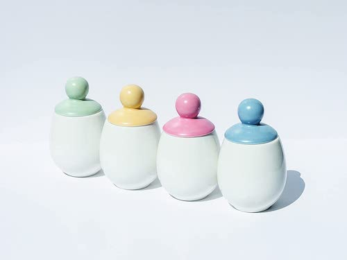 4.AggCoddler -Porcelain & Silicone Egg Cookers - Easily Cook Eggs with Toppings & Mix-Ins - Set of 4