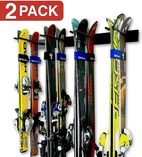1.StoreYourBoard Ski Wall Storage Rack, 2 Pack Holds 16 Pairs, Steel Home and Garage Skis Mount