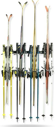 5.Koova Snow Ski Rack Wall Mount for Indoor Storage | Securely Holds 4 Pairs of Skis Plus Poles | Made in USA