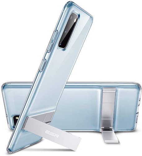 8.ESR Metal Kickstand Compatible with Samsung Galaxy S20 Case, Vertical and Horizontal Stand, Reinforced Drop Protection, Clear