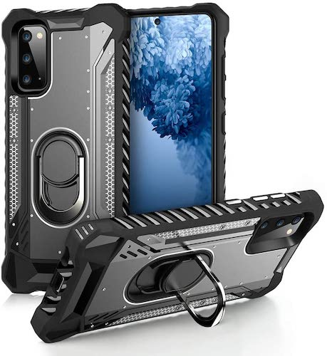 9.FLOVEME Samsung Galaxy S20 Case - Samsung S20 Phone Case with Kickstand Ring Holder Silicone & Metal Cover