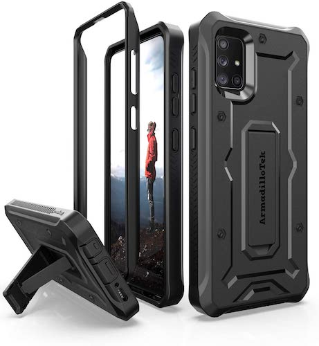 1.ArmadilloTek Vanguard Designed for Samsung Galaxy A51 Case Military Grade Full-Body Rugged with Kickstand- Black