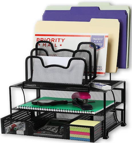 2. SimpleHouseware Mesh Desk Organizer with Sliding Drawer, Double Tray and 5 Stacking Sorter Sections