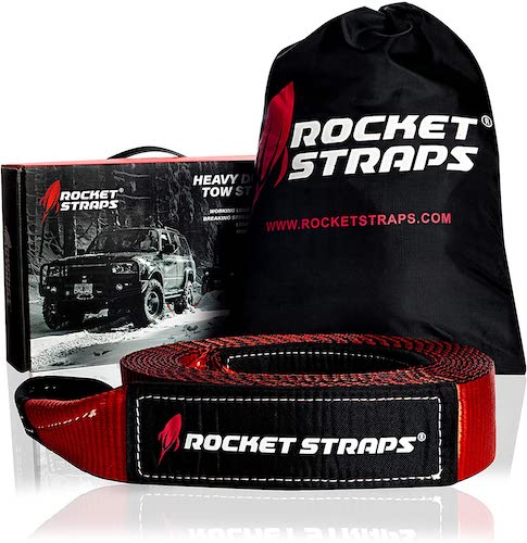 4. Rocket Straps - 3' x 30' Heavy Duty Tow Strap   30,000 LBS Rated Capacity Recovery Strap