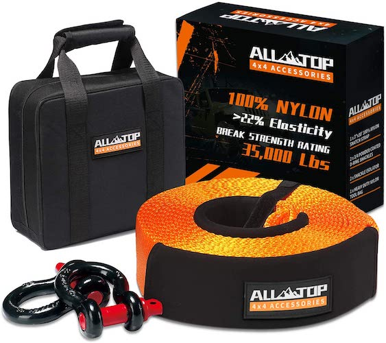 5.ALL-TOP Nylon Heavy Duty Tow Strap Recovery Strap Kit : 3 inch x 30 ft (35,000 lbs)