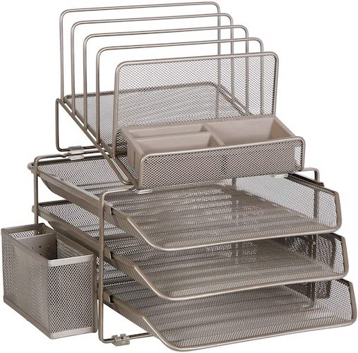 7. DESIGNA Stackable Mesh Desk Organizer with 3 Sliding Letter Trays 4 File Holders 2 Side Compartments & Pencil Holder