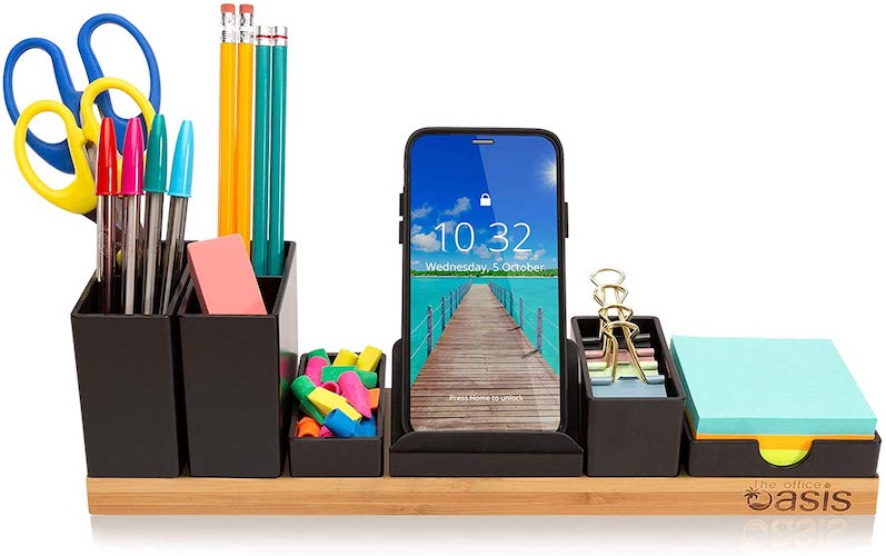 5. Desk Organizer with Adjustable Pen Holder, Pencil Cup, Phone Stand, Sticky Note Tray, Paperclip Storage, and Office Accessories Caddy