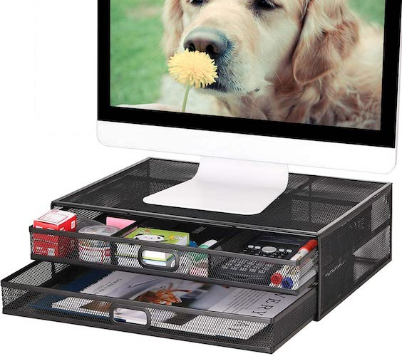 8. Monitor Stand Riser with Drawer - Metal Mesh Desk Organizer with Dual Pull Out Storage Drawer