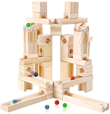 4. Marble Run Toys, 60 Pieces Wooden Classic Ramps Track Building Construction Set