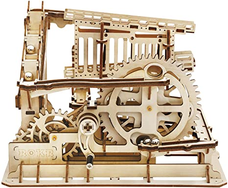 6. ROKR 3D Wooden Puzzle Marble Run Model Building Kits Mechanical Puzzle Toy