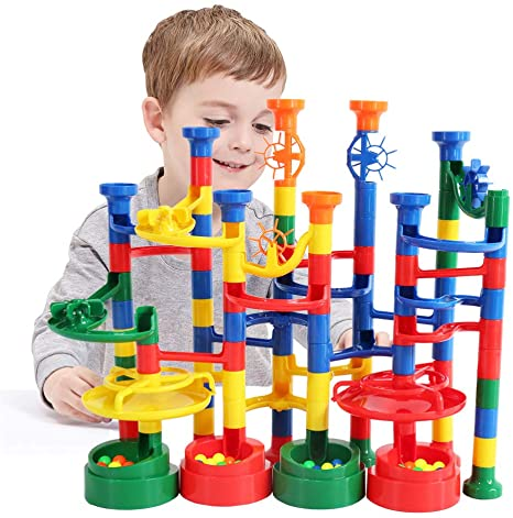 7. BMAG Marble Run Set for Kids, Marble Race Track, Marble Maze Game Toys, STEM Construction Building Set 112PCS