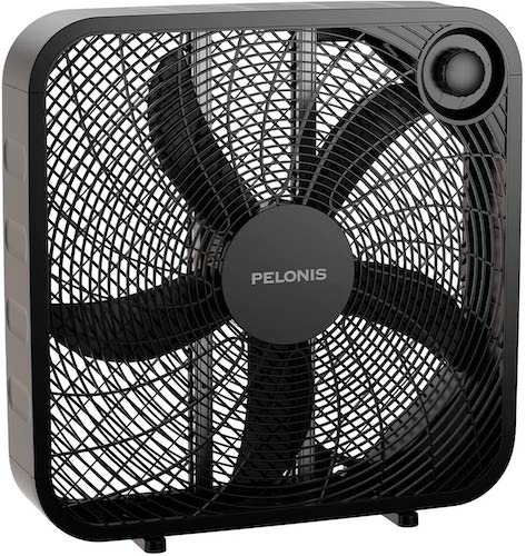 1.PELONIS PFB50A2ABB-V 3-Speed Box Fan for Full-Force Circulation with Air Conditioner