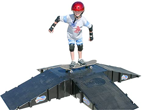 1. Landwave 4-Sided Pyramid Skateboard Kit with 4 Ramps and 1-Deck