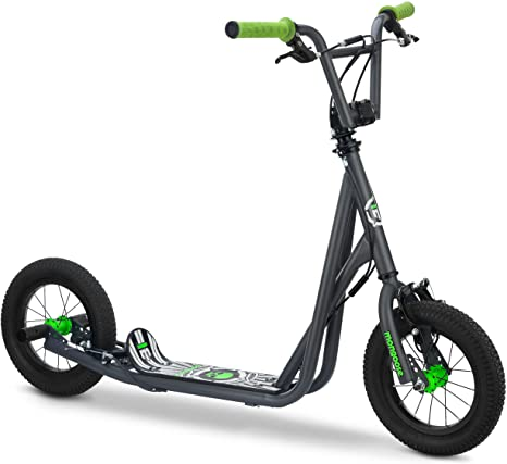 3. Mongoose Expo Youth Scooter, Front and Rear Caliper Brakes, Rear Axle Pegs, 12-Inch Inflatable Wheels