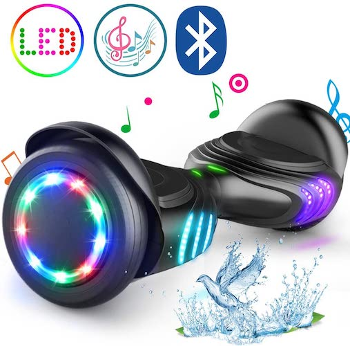 10.TOMOLOO Hoverboard with Bluetooth Speaker and LED Lights Self-Balancing Scooter