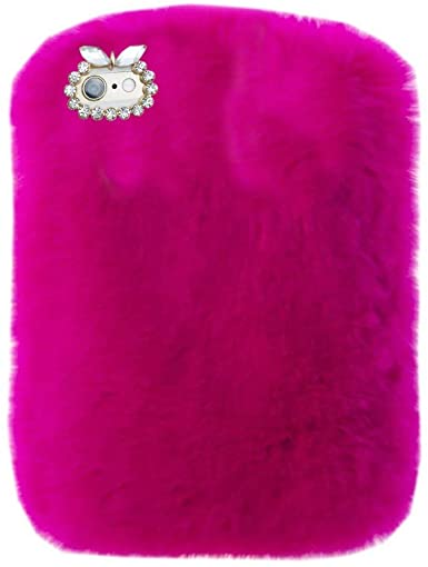9. Fire HDX 7 Tablet Cover, Winter Fashion Bling Rhinestone Fuzzy Faux Rabbit Furry Fluffy Beaver Rex Rabbit Fur Protective Case