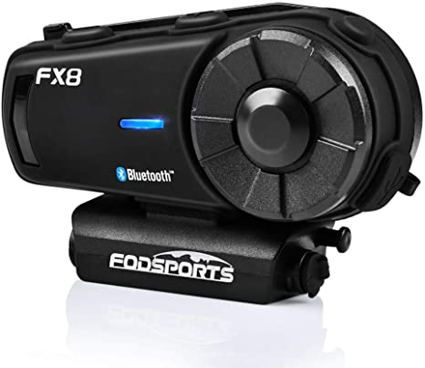 8. FODSPORTS FX8 Motorcycle Bluetooth Intercom with Noise Cancellation, Louder Volume Motorcycle Bluetooth Headset