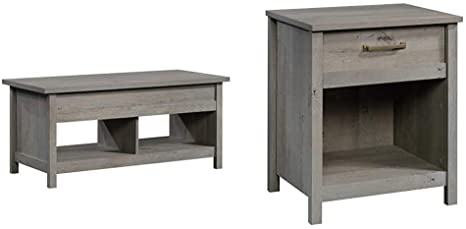 2. Sauder Cannery Bridge Lift Top Coffee Table, Mystic Oak Finish & Cannery Bridge Night Stand