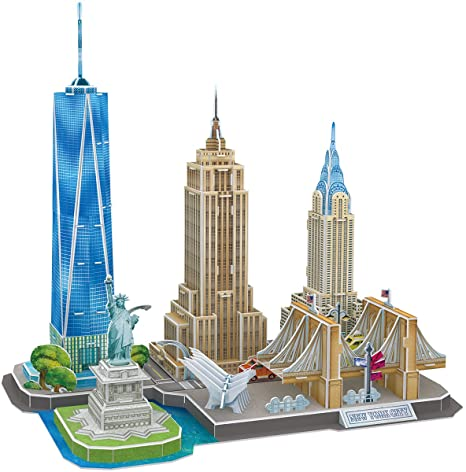 10. CubicFun 3D Puzzles for Adults Newyork Cityline Architecture Building Model Kits Collection Toys Gift Keepsake