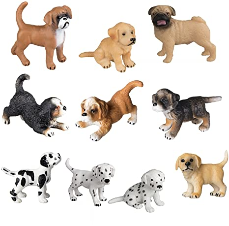 6. TOYMANY 10PCS Dog Figurines Playset, Realistic Detailed Plastic Puppy Figures, Hand Painted Emulational Dogs Animals Toy Set