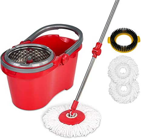 9. HAPINNEX Spin Mop Wringer Bucket Set - for Home Kitchen Floor Cleaning - Wet/Dry Usage on Hardwood & Tile