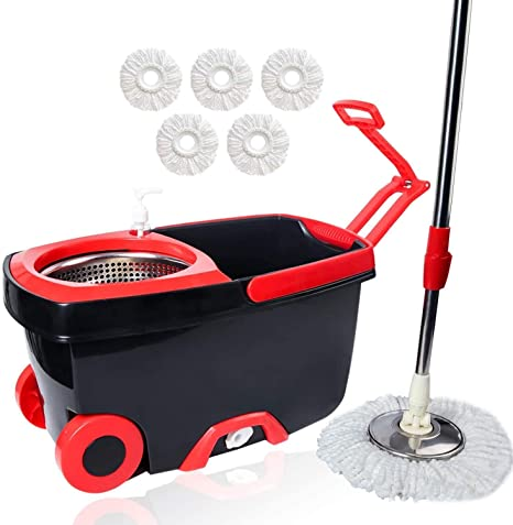 8. Squeeze Flat Mop, 1 Bucket, Wet Dry Floor Cleaning Hand Free, 4 Reusable Microfiber Mop Pads