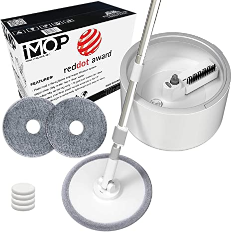 2. iMop Microfiber Spin Mop with Patented Bucket Water Filtration – Self Wringing Wet Dry All-In-One Spin Mop with Extra Refills